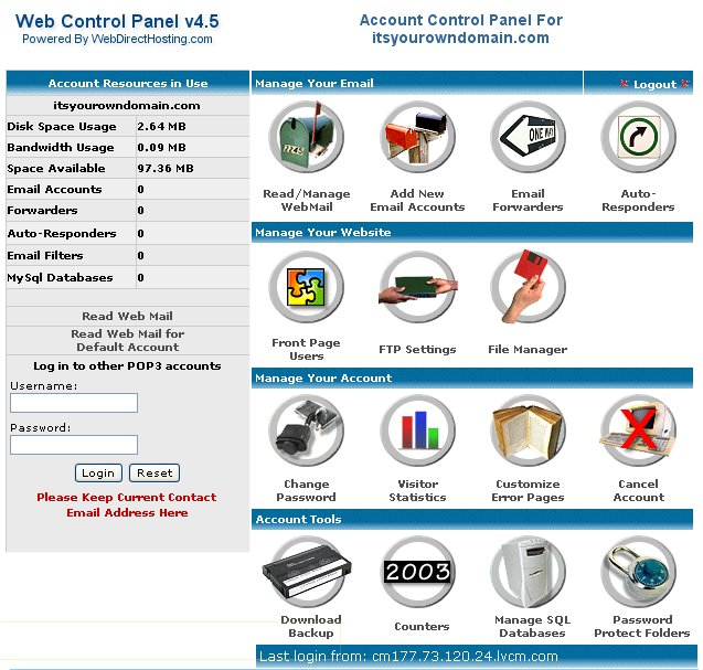 A View of Your Web Control Panel